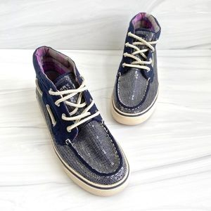 Sperry Navy Blue Sequin Mid High Boat Shoe Sneaker